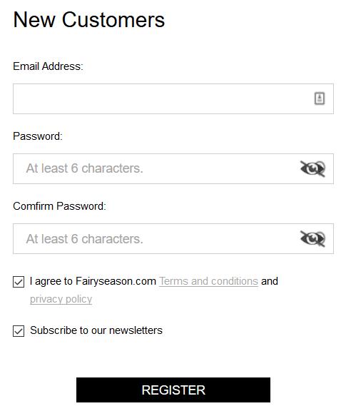 FairySeason register an account